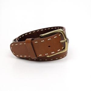 "Lands' End 32"" Brown Contrast Stitch Belt"
